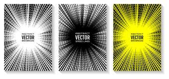 Установите линии предпосылку скорости комика radial Геометрическая иллюстрация лучей пересекла кольцами волны Стоковое Изображение