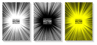 Установите линии предпосылку скорости комика radial Геометрическая иллюстрация лучей пересекла кольцами зигзага, как паутины Стоковое фото RF