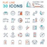 Установите линию автомобили вектора плоскую значков электрические Стоковые Изображения RF