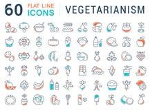 Установите линию вегетарианство вектора плоскую значков Стоковое Изображение RF