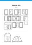 Установите линию вектор окна значка Стоковая Фотография