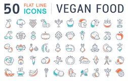 Установите линию еду вектора плоскую Vegan значков Стоковые Фото