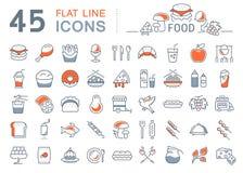 Установите линию еду значков Стоковое Изображение
