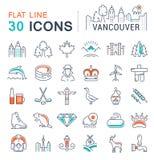 Установите линию значки Ванкувер и Канаду вектора плоскую Стоковое Изображение