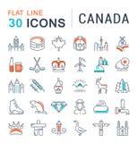 Установите линию значки Канаду вектора плоскую Стоковое Фото