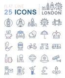 Установите линию значки Лондон вектора плоскую Стоковая Фотография