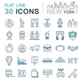 Установите линию значки Нью-Йорк вектора плоскую Стоковые Фотографии RF