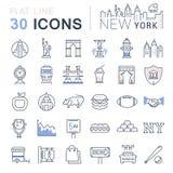Установите линию значки Нью-Йорк и США вектора плоскую Стоковые Фото