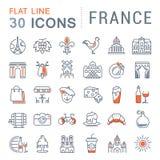 Установите линию значки Францию и Париж вектора плоскую Стоковая Фотография RF