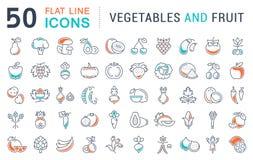Установите линию овощи и плодоовощ вектора плоскую значков Стоковая Фотография