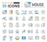Установите линию дом вектора плоскую значков умный Стоковые Изображения