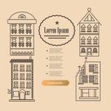 Установите линию дом дизайна Стоковые Изображения