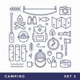 Установите линию туризм значков располагаясь лагерем Стоковое Изображение