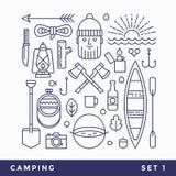 Установите линию туризм значков располагаясь лагерем Стоковые Фото