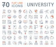 Установите линию университет вектора плоскую значков Стоковое Изображение