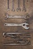 Установите инструменты гаража ключ для труб, регулируемый ключ, ключ Стоковое Фото