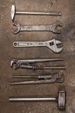 Установите инструменты гаража Молоток, ключ для труб, регулируемый ключ, ключ Стоковое Изображение RF