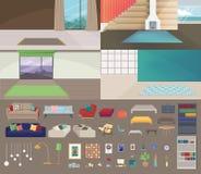 Установите интерьеров без мебели иллюстрация штока
