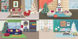 Установите интерьеров рождества иллюстрация штока