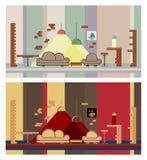 Установите интерьер ресторана красочный, элементы дизайна Стоковое Фото