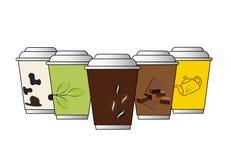 Установите иллюстратор вектора кофейной чашки красочный Стоковые Фото