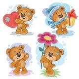 Установите иллюстрации искусства зажима вектора плюшевых медвежоат Стоковые Изображения RF