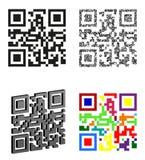 Установите иллюстрацию вектора кода qr значков абстрактную Стоковая Фотография RF