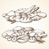 Установите иллюстрацию вектора эскиза хлебопекарни иллюстрация штока