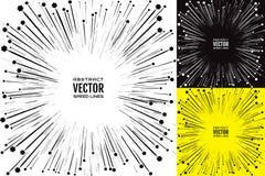 Установите иллюстрацию радиальных лучей и silhouettes цветки летания черного цвета с взрывом силы влияния Стоковая Фотография