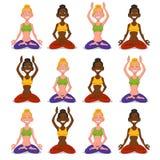 Установите йогу женщин Стоковая Фотография RF