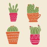 Установите кактуса в баках Succulents в баках Плоская иллюстрация вектора для стикеров, scrapbooking Succulents конструируют элем бесплатная иллюстрация
