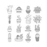 Установите кактусы значков чертеж руки стиля также вектор иллюстрации притяжки corel Стоковые Изображения RF