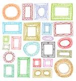 Установите картинные рамки, руку нарисованная иллюстрация вектора Стоковые Фотографии RF