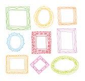 Установите картинные рамки, руку нарисованная иллюстрация вектора иллюстрация штока