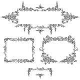 Установите картину каллиграфии рамок черную Стоковая Фотография RF