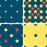 Установите картину цвета геометрическую безшовную с пятиконечными звездами Иллюстрация штока