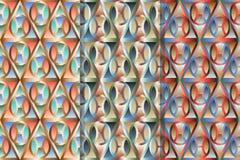 Установите 3 картин моды безшовных с геометрическими формами, создающ влияние тома цветастая иллюстрация иллюстрация вектора