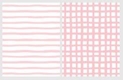 Установите 2 картин руки вычерченных незаконных геометрических Розовые нашивки и решетка на белом иллюстрация штока