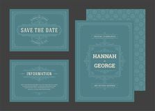 Установите карточки орнаментов эффектных демонстраций приглашений свадьбы стоковые фотографии rf
