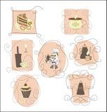 Установите карточки, ярлыки для каф, ресторанов Стоковое фото RF