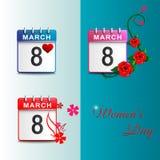 Установите календари 8-ое марта голубой Стоковое Фото