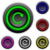 Установите кнопки с знаком повторения Стоковые Изображения