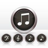 Установите кнопки с значком примечания музыки. Стоковые Фото