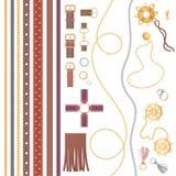 Установите кожаного пояса, earings, ожерелья, колец, цепи и другой роскошной иллюстрации вектора аксессуаров дизайна бесплатная иллюстрация