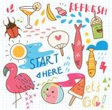 Установите коллажа doodle лета бесплатная иллюстрация