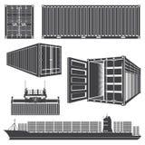 Установите контейнеры грузового корабля Стоковые Фото