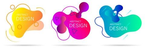 Установите красочных элементов, формы конспекта градиента для знамени иллюстрация штока
