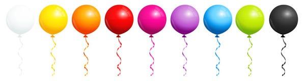 Установите 9 круглых воздушных шаров радуги с черно-белым бесплатная иллюстрация