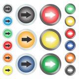 Установите круговых кнопок или значков сети на которые стрелка указывает следующее или правое иллюстрация вектора