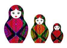 Установите куклу вложенности значка Matryoshka русскую при геометрический красочный орнамент, покрашенный при изолированные ручки Стоковая Фотография